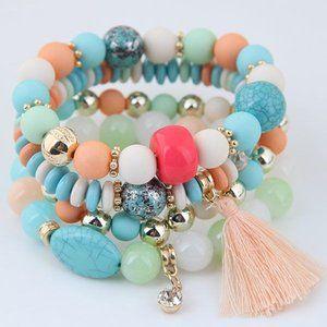 3/$20 New Colourful Tassel Beaded Bracelet Set